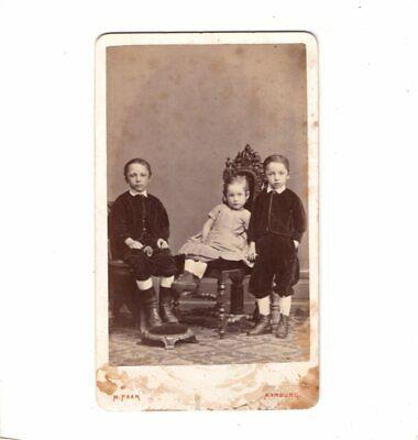 M. Paar CDV Foto Niedliche kleine Kinder - Marburg 1870er