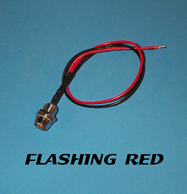 Flashing Led - 5mm Pre Wired 12v Chrome Bezel - Red