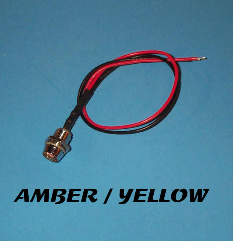 LED - 5mm PRE WIRED 12 VOLT CHROME BEZEL- AMBER YELLOW