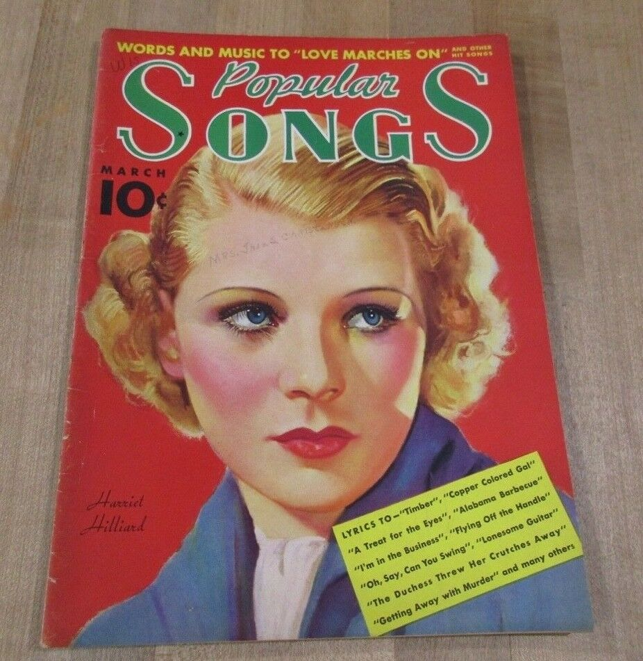 Popular Songs March 1937 Harriet Hilliard Bing Crosby Martha Raye Gale Page  - $7.99
