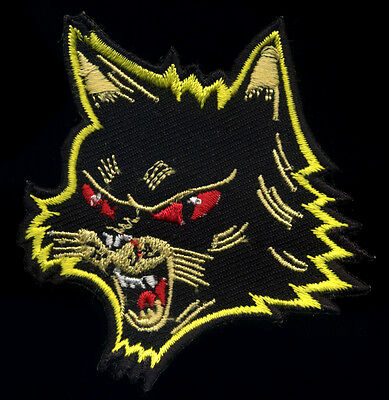 black cat patch halloween retro style tattoo hot rod motorcycle punk goth ()