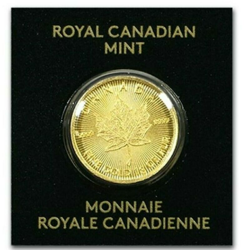 2020 1 Gram GOLD 50 Cents MAPLE LEAF Coin In Assay.