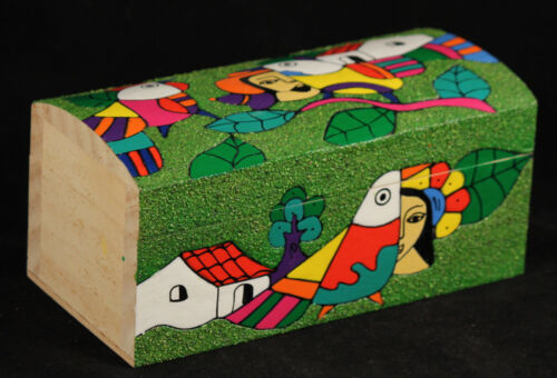 Mexican Wood Trinket Box Hand Made/Painted Folk Art Decorative Colorful Mexico