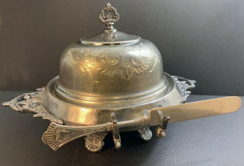 Antique Silverplate Covered Butter Dish and Knife