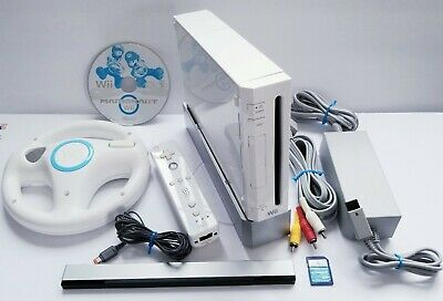 Nintendo Wii White Console RVL-001+ 1 CONTROL + MARIO KART & WHEEL MEMORY CARD