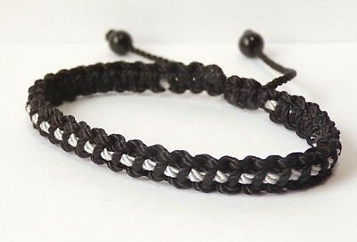 Thin Grey Line braided bracelet -corrections officer wristband -for man & woman - Thin Bracelets