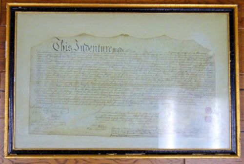 Original Rare 1773 Pennsylvania-New Jersey Plantation Grant Signed Sealed Framed