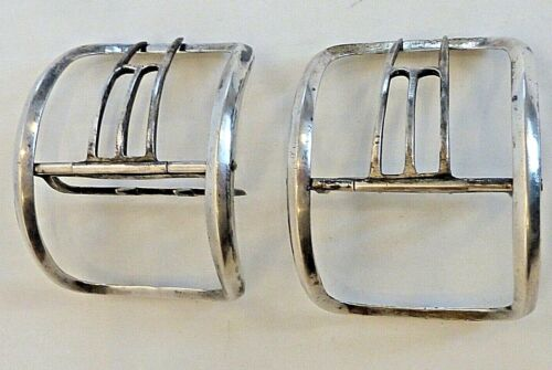PAIR 18TH CENT. LARGE CONTINENTAL SILVER SHOE BUCKLES