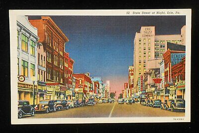 1942 State Street at Night Old Cars Stores Signs Erie PA Postcard (Erie Pa Stores)