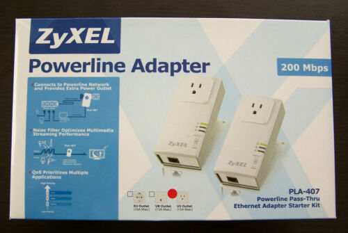 ZyXEL Powerline HomePlug Pass-Thru Ethernet Adapter PLA-407 200Mbps - Set of 2