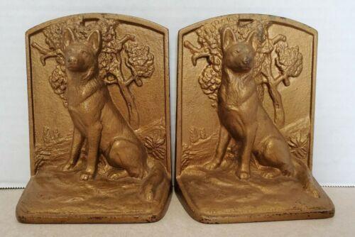 Vintage Pair Of 2 Gold Cast Iron German Shepherd Dog Bookend / Door Stop