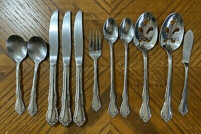 Wm Rogers Oneida Stainless MANSFIELD Serving Spoons Fork Knives Lot of 11 for sale  Shipping to India