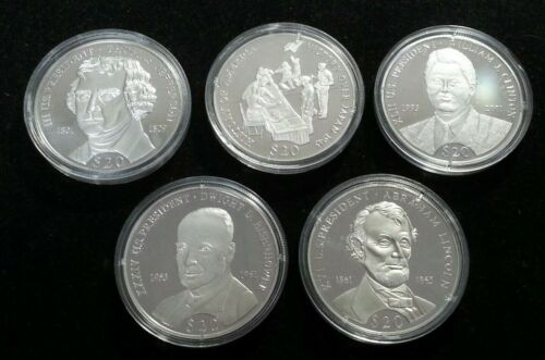 5 LIBERIA $20 PROOF COINS ~ .999 FINE SILVER ~ 20 GRAMS EACH ~ COA