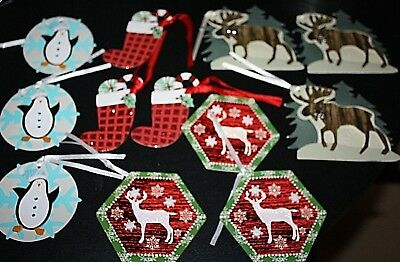 New 3D Christmas Tag Lot 12 pcs Moose Deer Penguin Stocking  Presents  -F
