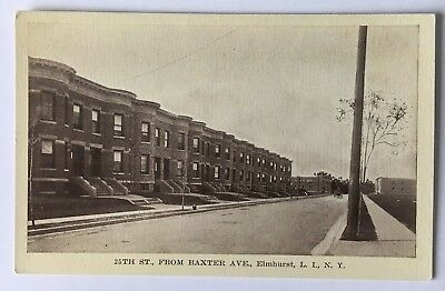 NY Postcard New York Elmhurst Queens LI 25th Street from Baxter Avenue rowhouses - Elmhurst Queens