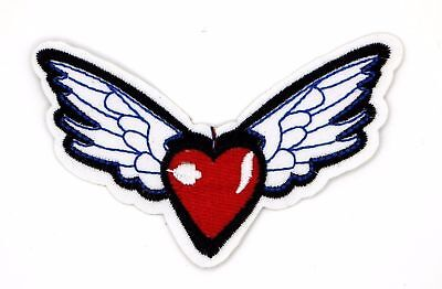 HEART WITH WINGS PATCH, EMBROIDERED FLYING HEART (SHW-359) - Flying Heart