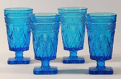 (4) Imperial Glass Antique Blue CAPE COD Iced Tea Glasses
