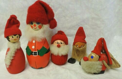 LOT 5 VINTAGE SWEDISH CHRISTMAS DECORATIONS SANTAS & HELPERS FOLK ART SWEDEN