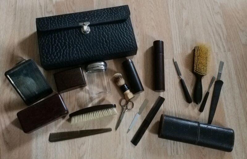 Antique Vintage Mens Toiletry Kit Lot Case Travel Grooming Groom Set Leather