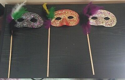 Three Vintage Masquerade Eye Masks On Sticks for Mardi Gras Halloween Any Party  - Eye Masks For Halloween