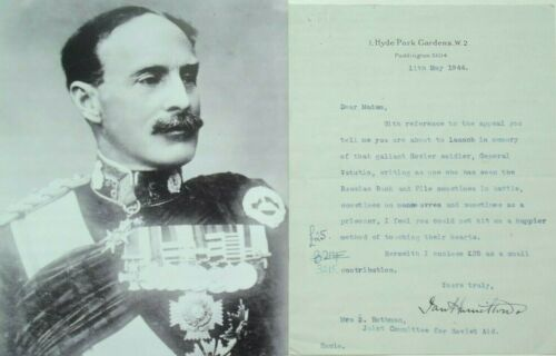 General Ian Hamilton Prominent British Army Commander Signed Letter