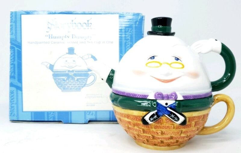 Department 56 Storybook Collection Humpty Dumpty Egg Ceramic Teapot Tea Cup One