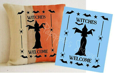 HALLOWEEN Stencil WITCHES WELCOME Chanting Witch Bats Spiders Stars Sign Pillow - Halloween Bats Stencils