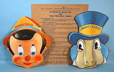 1939 Pinocchio & Jiminy Masks Set with Envelope Gillette Razor Blade Premium WDP