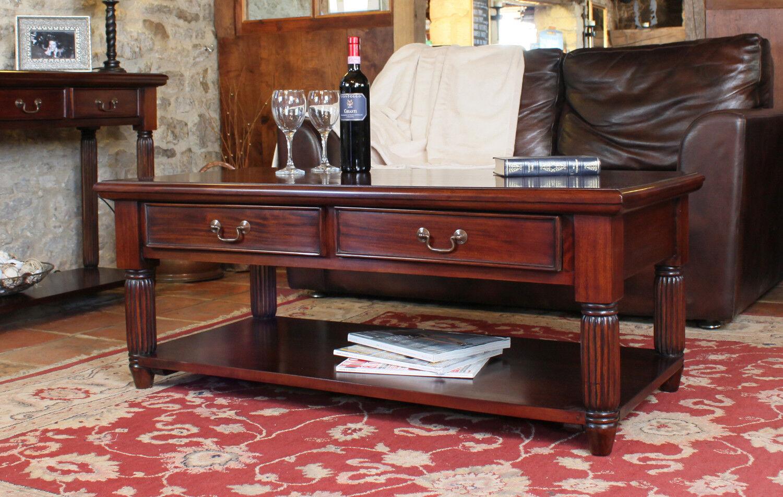 La Roque Dark Wood Coffee Table With 2 Drawers Storage Solid Mahogany Ebay