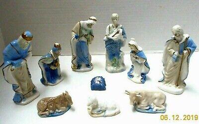 Vtg. Porcelain 10 Piece NATIVITY SET FIGURINES-White Blue & Gold w/stickers-Mint
