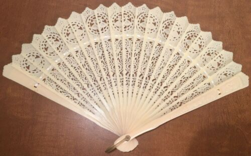 """Vintage Antique Celluloid Folding Fan, Dancers and Peacocks, 12"""" Open, 7"""" Blade"""