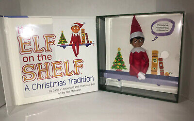 New Elf on the Shelf A Christmas Brown-Eyed Boy Dark Skin Scout Book