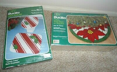 2 BUCILLA vintage NEW LATCH HOOK kits CHRISTMAS bath RUG tree skirt