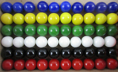 60 Solid Color Replacement Marbles Set run Chinese Checker board game GLASS 14mm - Square Game