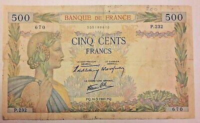 500 Francs, 500 F 1940-1944 ''La Paix'', 1940, 1940-05-16  France,  #Except#