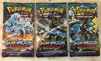 3 X Pokemon Sealed Booster Packs - Sun & Moon Guardians Rising (10 cards/pack)