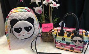 BETSEY JOHNSON Backpack School Bag PANDA BEAR RAINBOW & Mini Satchel Purse SET