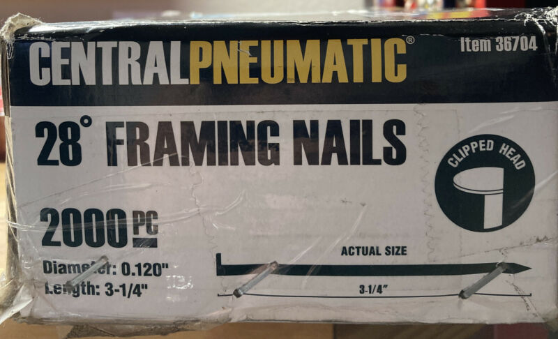 "Box of 2000 collated EXTERIOR 3 1/4"" x .12 FRAMING NAILS for 28-degree Nail-Guns"