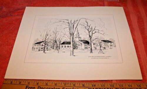 Vintage Centre Congregational Church Lynnfield Massachusetts Pencil on Paper Pic