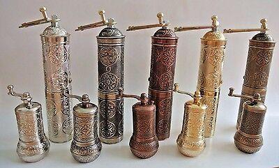 Turkish Coffee Pepper Mix Grinder Mill Set (of 2): 21cm,10cm Silver Copper Brass - Mix Grinder Set