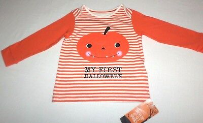Neu Mein 1. Halloween Top Kürbis Orange Mix Marks & Spencer Gestreift