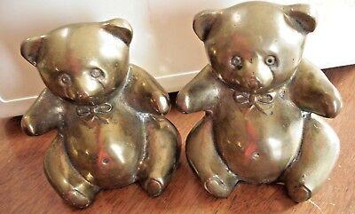 VINTAGE DECORATIVE CRAFTS INC. BRASS Large Teddy Bear Bookends Made in KOREA  (Decor Craft Inc)