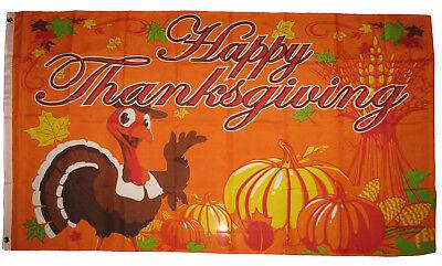 3X5 Happy Thanksgiving Flag 3'x5' Turkey & Pumpkin Decoration Banner - Happy Thanksgiving Banners
