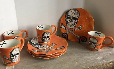 Set 8 *Maxcera Orange Halloween SKULL & BONES Dinner Plate + Mug Combo *NEW