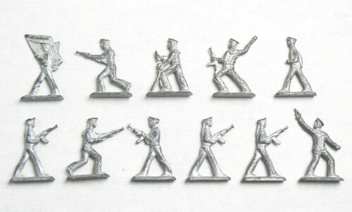 Vintage Soviet Russian 10 pcs Tin Pewter Soldiers Sailors Toys USSR