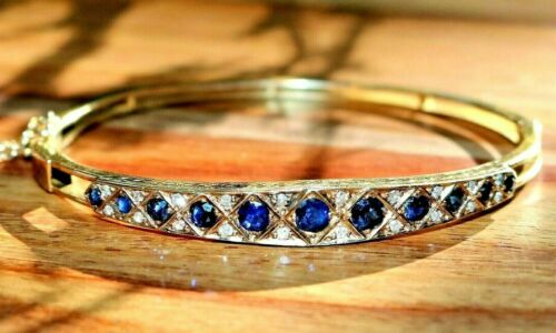 Edwardian Antique 14k Yellow Gold Sapphire & Diamond Hinged Bangle Bracelet