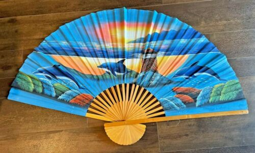 """Large bamboo hand painted art fan ocean dolphins 58"""" wall art"""