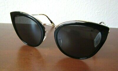 NEW AUTHENTIC 2021 PRADA $378 CAT EYE BLACK & GOLD SUNGLASSES OPR-20US METAL !