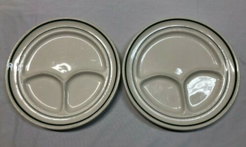 Buffalo China Green Stripe Vintage Restaurant Ware Divided Grill Plates Set of 2