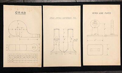 3 X Harland & Wolff Belfast 1930's Drawings GRABS FULLERS EYE PLATES - RF06